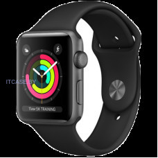 Часы AppleWatch Series3 GPS, 42mm Space Grey Aluminium Case with Black Sport Band, Model A1859 MTF32FS/A