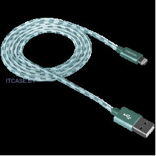 Кабель CANYON Lightning USB Cable for Apple, braided, metallic shell, 1M, Green CNE-CFI3G