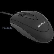 CANYON мышь, цвет - черный, проводная, DPI 800, 3 кнопки, прорезиненное покрытие. CNE-CMS1