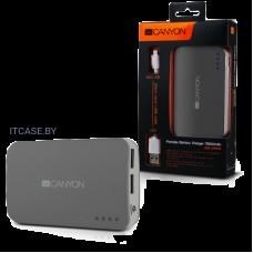 CANYON портативное зарядное устройство, цвет - темно-серый, материал пластик, емкость 7800 мАч, выход DC5V 1A/2A (2 USB), вход DC5V 1A, индикатор заряда, фонарик CNE-CPB78DG