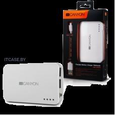 CANYON портативное зарядное устройство, цвет - белый, материал пластик, емкость 7800 мАч, выход DC5V 1A/2A (2 USB), вход DC5V 1A, индикатор заряда, фонарик CNE-CPB78W
