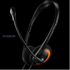 Наушники CANYON PC headset with microphone, volume control and adjustable headband, cable 1.8M, Black/Orange CNS-CHS01BO