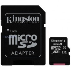 Память (flash-карты) Kingston 64GB microSDXC Canvas Select Class 10 UHS-I 80MB/s Read Card + SD Adapter SDCS/64GB