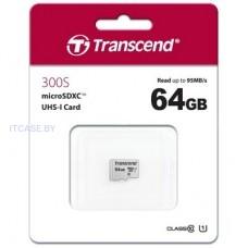 Память (flash-карты) TRANSCEND 64GB UHS-I U1 microSD with Adapter TS64GUSD300S-A